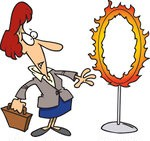 442815-Cartoon-Businesswoman-Standing-By-A-Flaming-Hoop-Poster-Art-Print